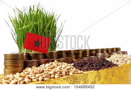 Morocco Flag Waving With Stack Of Money Coins And Piles Of Wheat And Rice Seeds