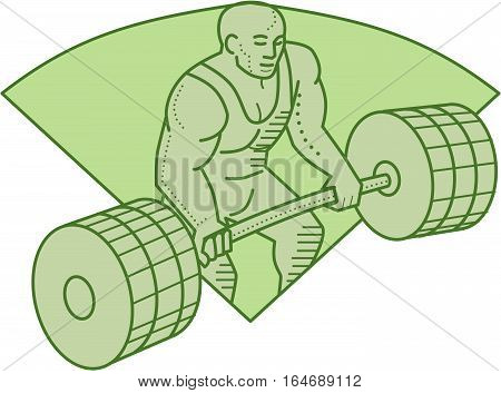 Mono line style illustration of a weightlifter lifting barbell weights with both hands set inside shield crest on isolated background.