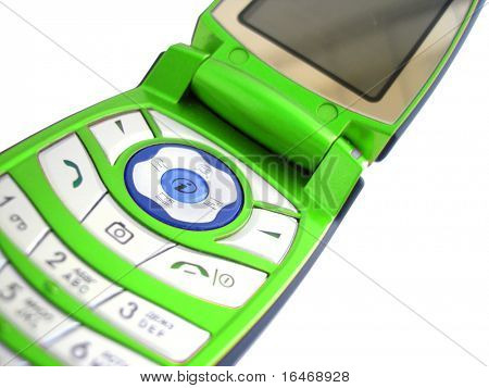 green mobile phone over a white background