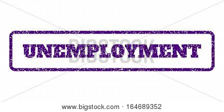 Indigo Blue rubber seal stamp with Unemployment text. Vector caption inside rounded rectangular frame. Grunge design and scratched texture for watermark labels. Horisontal sign on a white background.