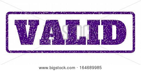 Indigo Blue rubber seal stamp with Valid text. Vector message inside rounded rectangular frame. Grunge design and scratched texture for watermark labels. Horisontal sticker on a white background.