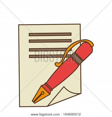 pen with contract icon vector illustration design