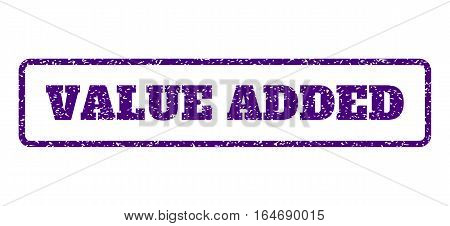 Indigo Blue rubber seal stamp with Value Added text. Vector caption inside rounded rectangular frame. Grunge design and unclean texture for watermark labels. Horisontal sticker on a white background.