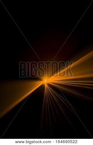 Laser beam orange on a black background