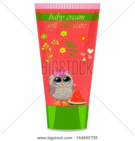 High quality original trendy vector watermelon Baby cream tube with kids design and owl on floral background illustration