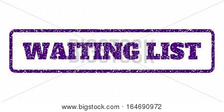 Indigo Blue rubber seal stamp with Waiting List text. Vector caption inside rounded rectangular banner. Grunge design and unclean texture for watermark labels. Horisontal sign on a white background.
