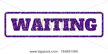Indigo Blue rubber seal stamp with Waiting text. Vector caption inside rounded rectangular banner. Grunge design and dirty texture for watermark labels. Horisontal sign on a white background.