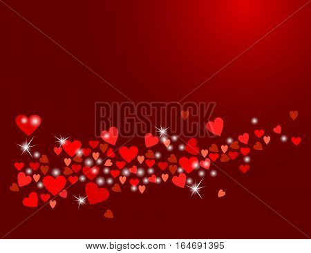 Abstract love background for your Valentines Day design. Sparkling hearts on dark wine background. Vector illustration