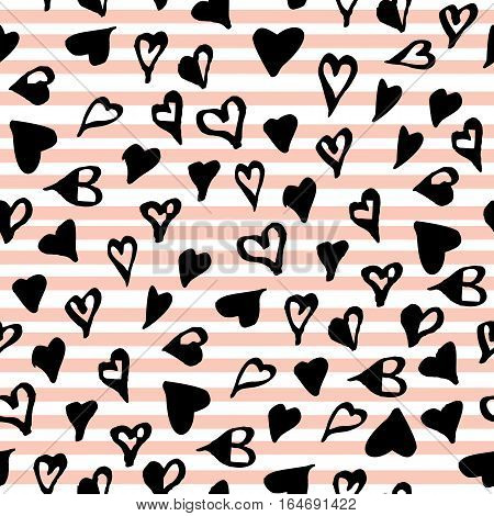Hand drawn black hearts seamless pattern on pink geometrical line background. St. Valentines day wrapping paper. Vector illustration