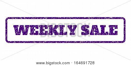 Indigo Blue rubber seal stamp with Weekly Sale text. Vector tag inside rounded rectangular frame. Grunge design and scratched texture for watermark labels. Horisontal emblem on a white background.