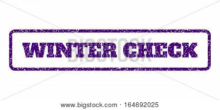 Indigo Blue rubber seal stamp with Winter Check text. Vector tag inside rounded rectangular frame. Grunge design and scratched texture for watermark labels. Horisontal emblem on a white background.