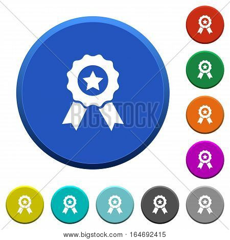 Award with ribbons round color beveled buttons with smooth surfaces and flat white icons