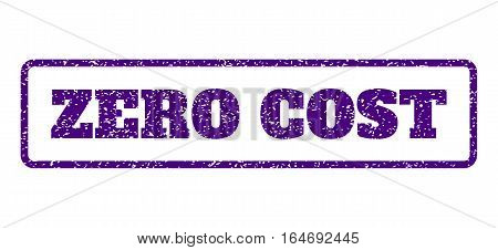 Indigo Blue rubber seal stamp with Zero Cost text. Vector caption inside rounded rectangular frame. Grunge design and scratched texture for watermark labels. Horisontal emblem on a white background.
