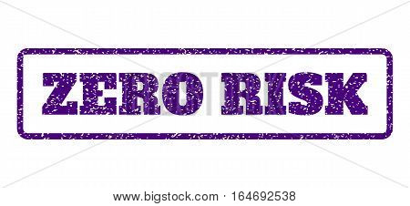 Indigo Blue rubber seal stamp with Zero Risk text. Vector tag inside rounded rectangular frame. Grunge design and unclean texture for watermark labels. Horisontal sign on a white background.