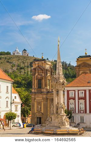 Mikulov town with Tanzberg (sv. Kopecek) background view from main square Southern Moravia Czech Republic