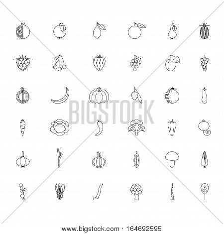 Black and white set fruits and vegetables line hand drawn icons, stock vector illustration