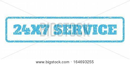 Light Blue rubber seal stamp with 24X7 Service text. Vector message inside rounded rectangular shape. Grunge design and unclean texture for watermark labels. Horisontal sign on a white background.