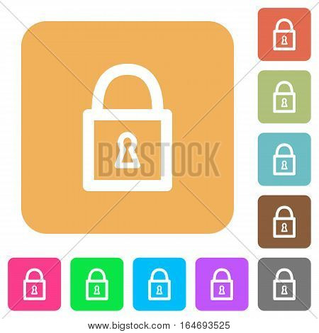Locked padlock flat icons on rounded square vivid color backgrounds.