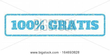 Light Blue rubber seal stamp with 100 Percent Gratis text. Vector message inside rounded rectangular shape. Grunge design and scratched texture for watermark labels.
