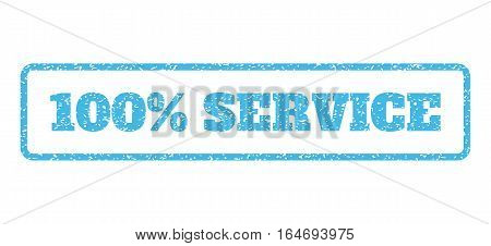 Light Blue rubber seal stamp with 100 Percent Service text. Vector message inside rounded rectangular shape. Grunge design and unclean texture for watermark labels.