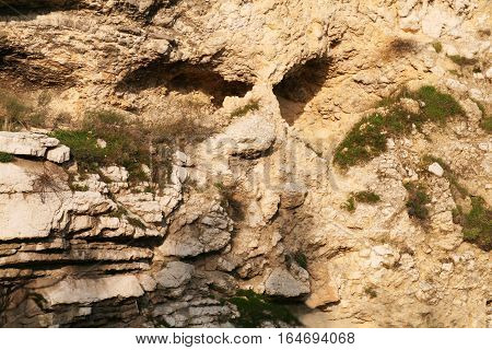 Skull Rock near Garden Tomb in Jerusalem, Israel