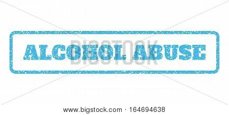 Light Blue rubber seal stamp with Alcohol Abuse text. Vector caption inside rounded rectangular banner. Grunge design and unclean texture for watermark labels.