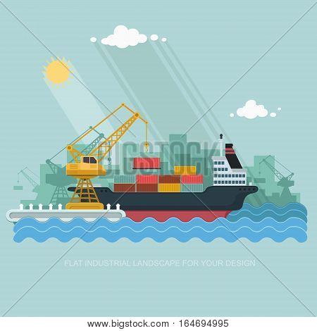 Landscape seaport. The crane which unloads. Carrier Cranes in Port Load Containers on the Container Ship. Flat vector illustration