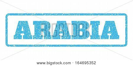 Light Blue rubber seal stamp with Arabia text. Vector tag inside rounded rectangular banner. Grunge design and dirty texture for watermark labels. Horisontal sign on a white background.