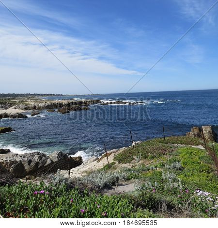 This is an image of the incoming tide at Asilomar State Reserve at Pacific Grove, California. U.S.A.
