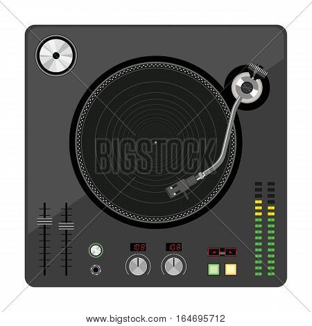 Disk Jockey turntable. Old vinyl turntable player. Vector illustration.