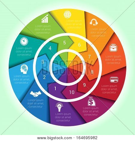 Template cyclic diagramme for Infographic ten position Area chart ring arrows pie chart