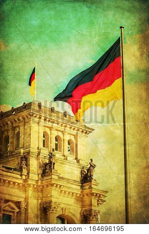 Vintage Style Picture Of The Reichstag In Berlin