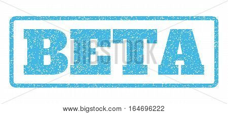 Light Blue rubber seal stamp with Beta text. Vector message inside rounded rectangular shape. Grunge design and unclean texture for watermark labels. Horisontal emblem on a white background.