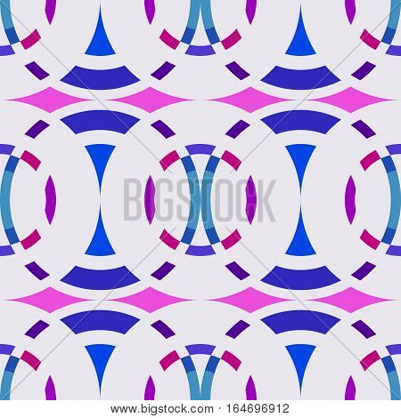 Seamless geometric abstract pattern. Rombus, circle view braiding figure texture. Blue, lilac, magenta colored background. Vector