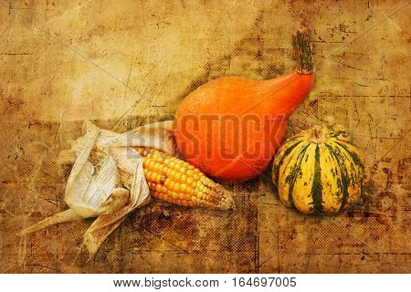 Autumn Fruits With Vintage Texture