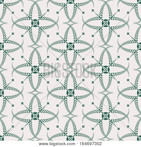 Religion seamless pattern. Laurel wreath, lace view texture with cross. Ceremonial, funeral background. Swirl stylized ornament. White, green colored. Vector