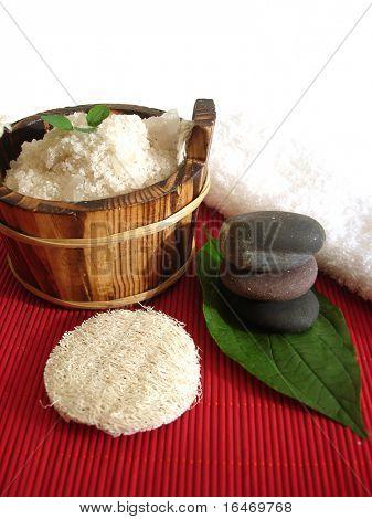 Spa essential (pyramid of stones and washtub with bath salt)