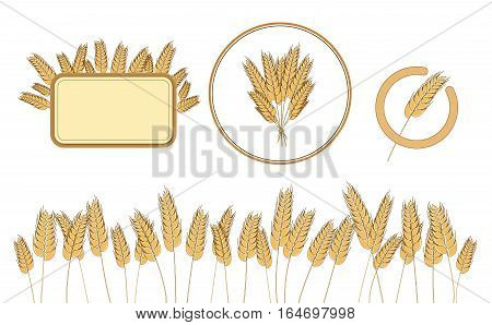 Bottom page wheat field, wheat frame and icon. design elements. Vector. Isolated illustration