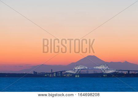 Tokyo gate bridge and Mt.Fuji at beautiful sunset in winter