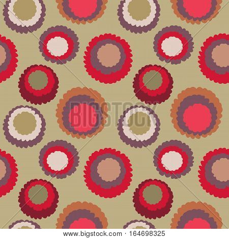 Seamless polka dot, motley texture. Abstract spotty pattern. Circles with torn paper effect. Soft red, orange, gold colored. Cornflakes theme. Vector