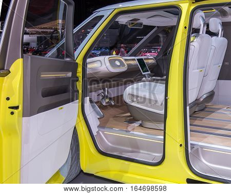 DETROIT MI/USA - JANUARY 10 2017: No steering wheel in the Volkswagen I.D. BUZZ Concept van at the North American International Auto Show (NAIAS).