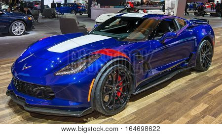 DETROIT MI/USA - JANUARY 10 2017: A 2017 Chevrolet Corvette Grand Sport car at the North American International Auto Show (NAIAS).