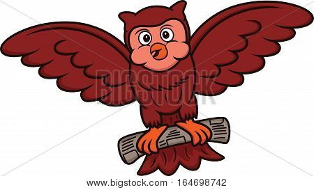 Cartoon illustration of an owl flying with newspaper on its claws