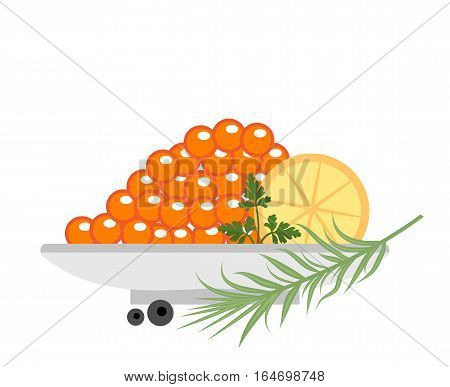 Red caviar in a plate with lemon and green icons. Flat style, isolated on white background. Vector illustration, clip art
