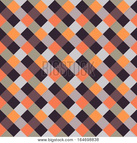 Seamless geometric checked pattern. Diagonal square, braiding, woven line background. Patchwork, rhombus, staggered texture. Brown, gray, orange colors. Winter theme. Vector