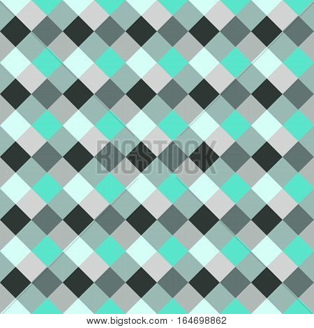 Seamless geometric checked pattern. Diagonal square, braiding, woven line background. Patchwork, rhombus, staggered texture. Turquoise, gray, aqua colors. Winter theme. Vector poster