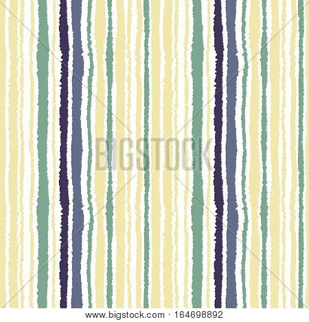Seamless strip pattern. Vertical lines with torn paper effect. Shred edge texture. Green, gray, olive colors on white background. Vector