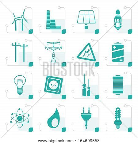 Stylized Electricity,  power and energy icons - vector icon set