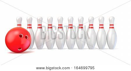 Bowling pins lined and bowling ball. 3D render illustration isolated on white background