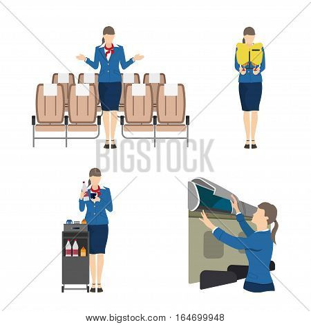 Stewardess serves passengers on the airplane. Attendant woman in uniform. Vector illustration